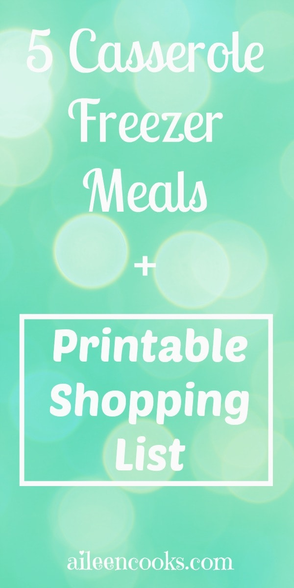 Making freezer meals in bulk is the best way to stock your freezer. This plan was so easy - 5 yummy casseroles with a printable shopping list. http://aileencooks.com