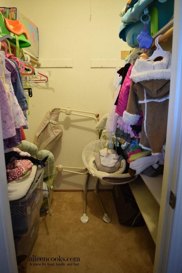 7 Day De-Cluttering Challenge Day Four - Nursery Closet