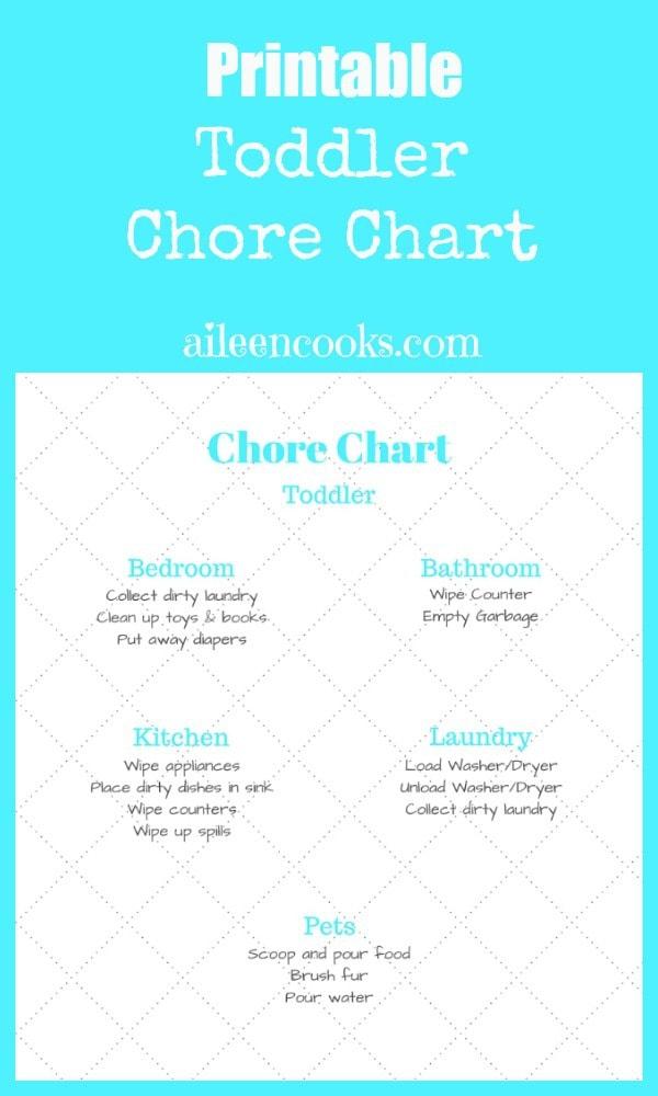 Printable Toddler Chore Chart http://aileencooks.com