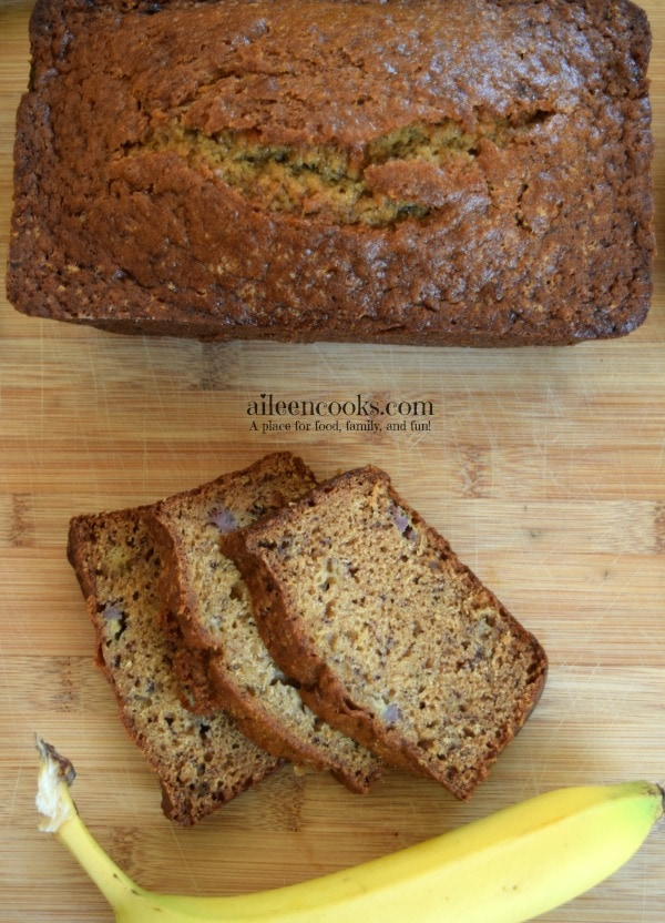 Moist and Deliciuos Banana Bread with a chewy crust from https://aileencooks.com