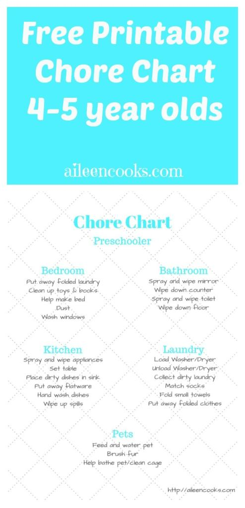 FREE Printable Preschooler Chore Chart (4-5 year olds) from http://aileencooks.com