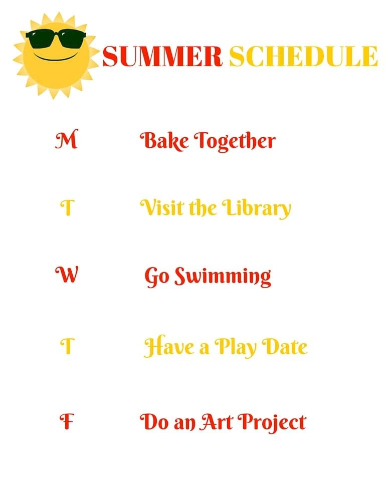 Printable Summer Schedule