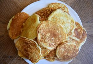 A plate piled high with pancakes.