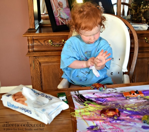Painting with Cars is the perfect art project for the car lover in your house. #ad