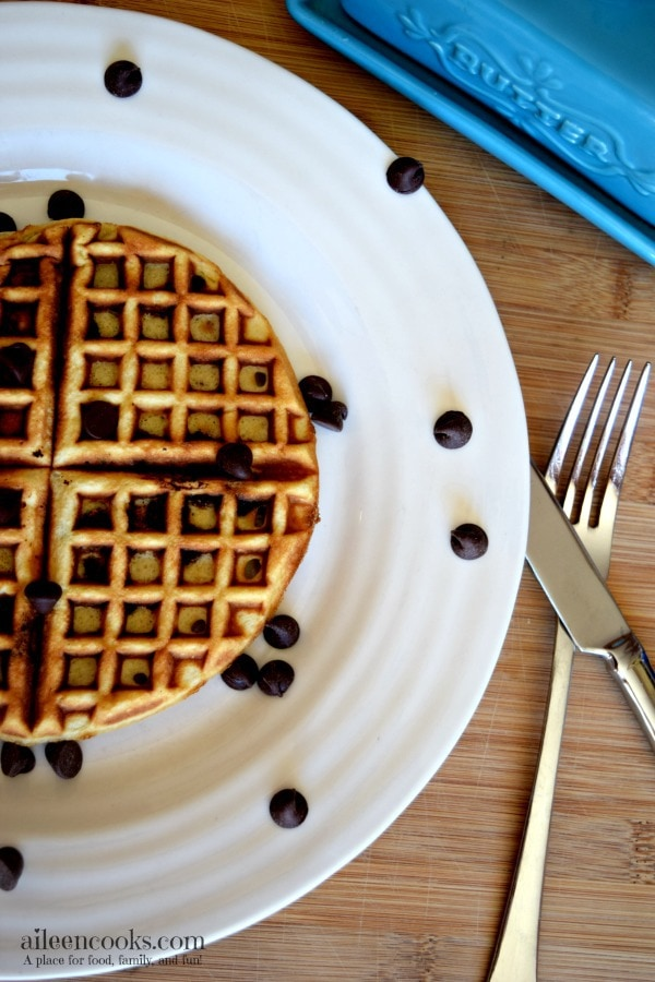 Chocolat Chip Blender Waffles are the perfect brunch recipe. They are easy to make and freezer friendly. Vegetarian. https://aileencooks.com