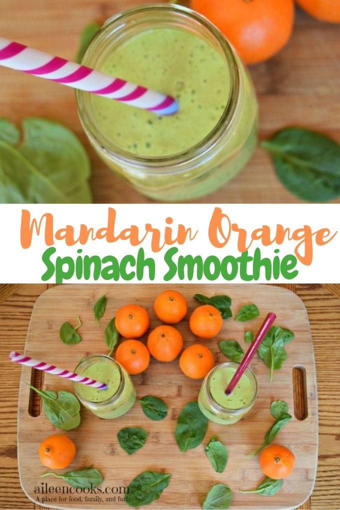 Are you looking for a tasty and different green smoothie recipe? Try this tasty mandarin orange spinach smoothie! It's a creamy smoothie made with fresh mandarin oranges (also known as cuties) and baby spinanch.