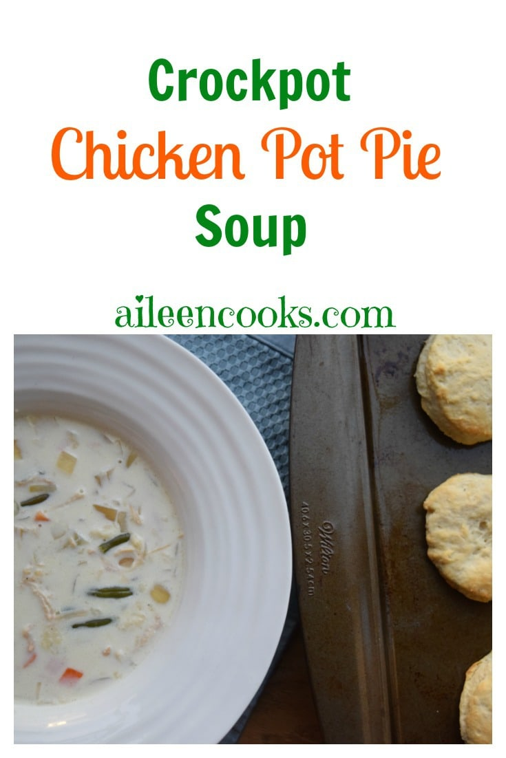 Hearty and deliciuos crockpot chicken pot pie soup is a kid-friendly slow cooker soup - especially when topped with biscuits! Recoipe from aileencooks.com