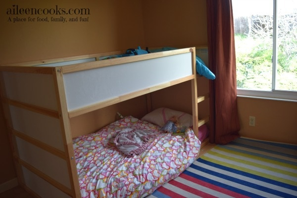 A peek inside our boy and girl shared room. Post from aileencooks.com.