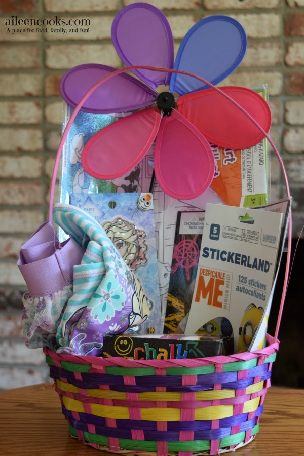 Non candy easter basket ideas for baby, preschooler, and toddler age groups. Most items were found at dollar tree and all baskets were under $20 total.