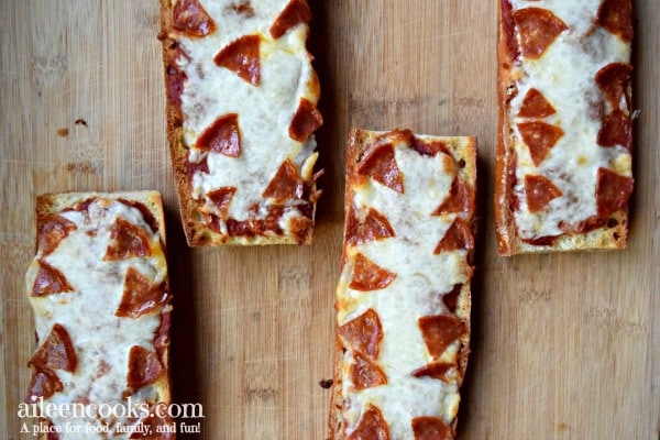 Easy and delicious french bread pizza.