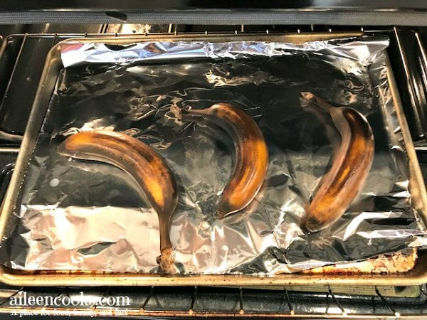 how to ripen bananas in the oven! Be ready to bake banana bread any time with this easy to follow tutorial.