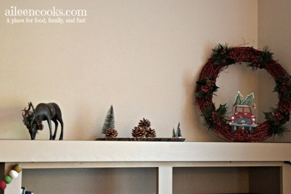 I decorated our christmas mantel in this fun buffalo plaid this year.