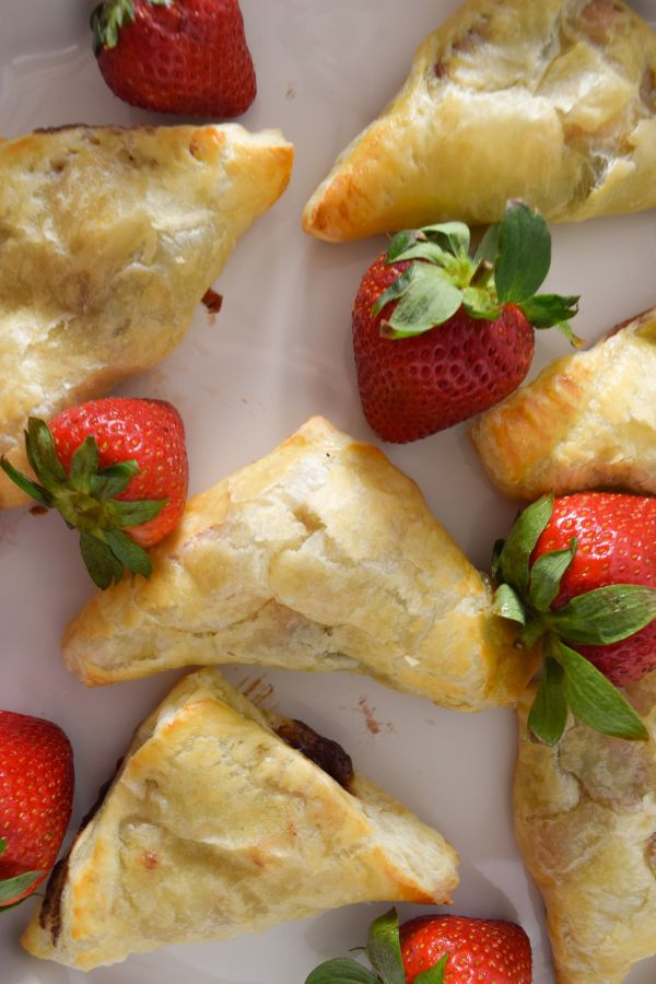 Fresh Strawberries with Strawberry Nutella Turnovers