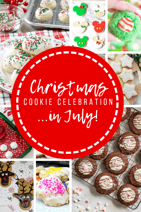 "Collage photo with several pictures of Christmas cookies and the words ""Christmas Cookie Celebration in July"""
