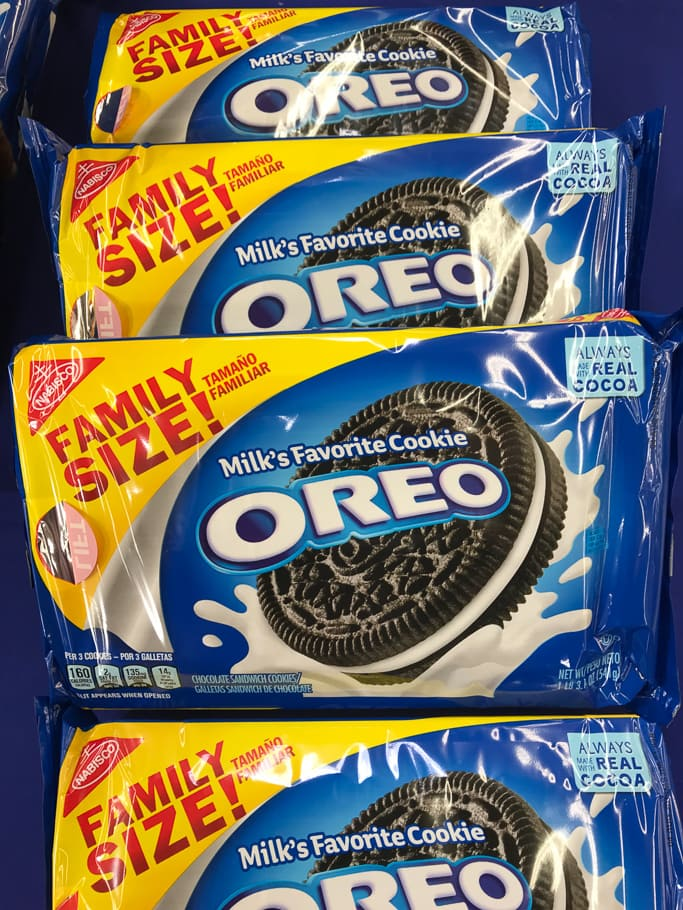 4 boxes of family size OREO cookies.