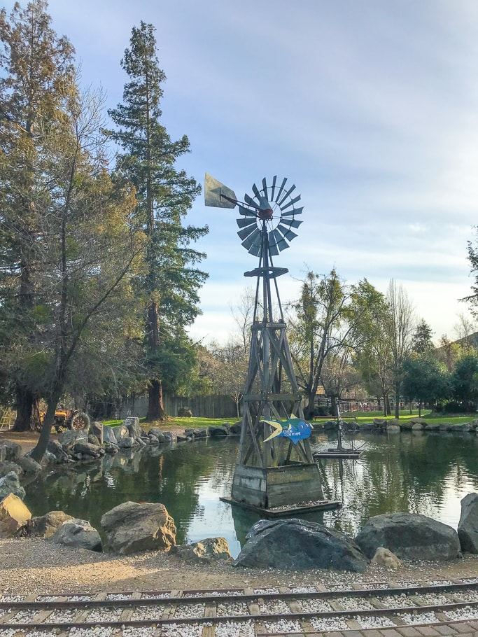 The windmill and duck pond at Casa de Fruta.