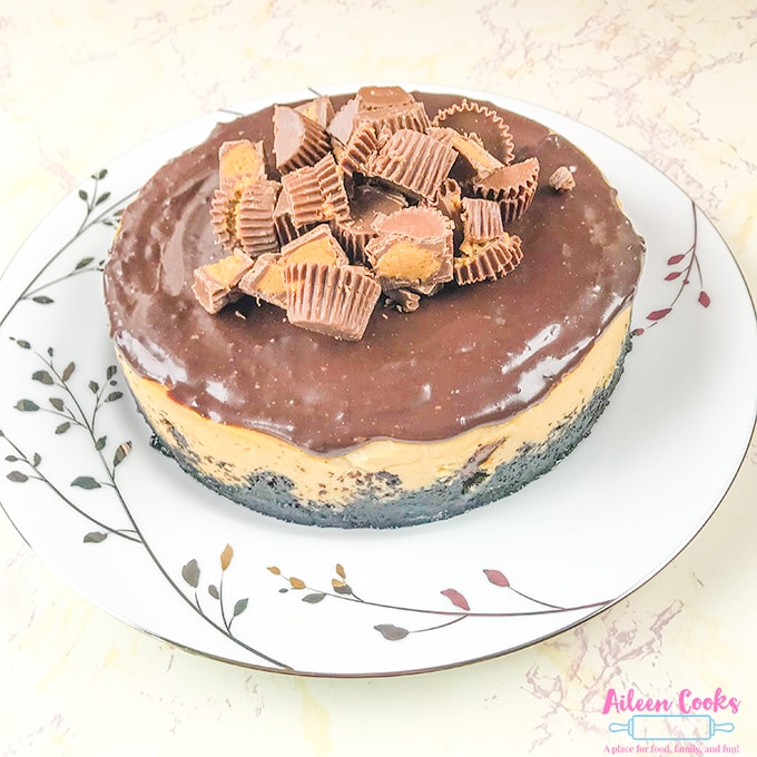Instant pot Reese's Cheesecake on white china.