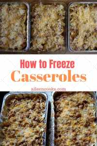 """A picture of five prepared casseroles with the words """"how to freeze casseroles"""" in the center."""