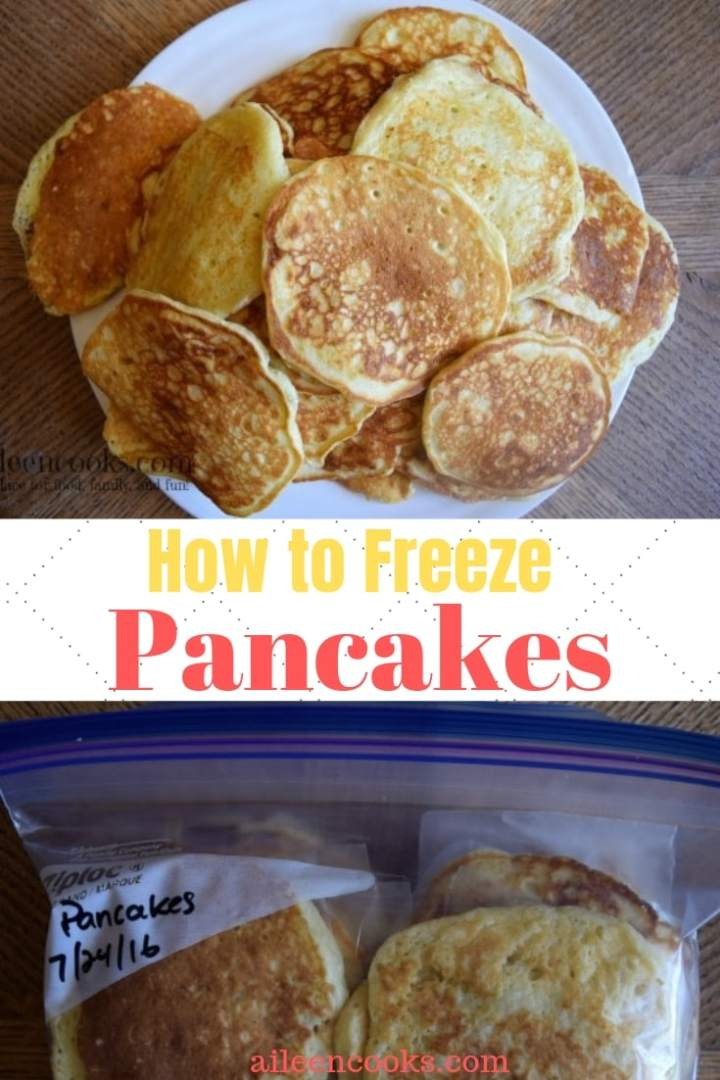 """A big stack of pancakes on a white plate with the words """"how to freeze pancakes""""."""