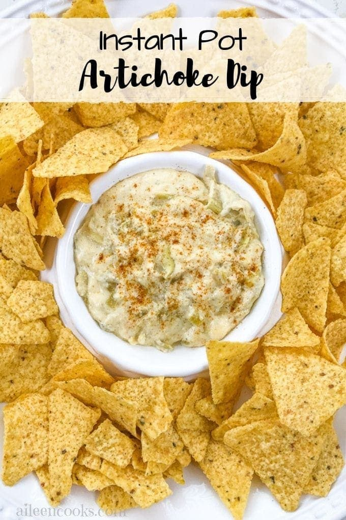 Cheesy instant pot artichoke dip is a dump and goinstant pot recipe made with just a handful of ingredients. Plus, it cooks in just 7 minutes!