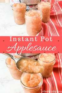 """Two pictures of applesauce in a collage with the words """"instant pot applesauce"""""""