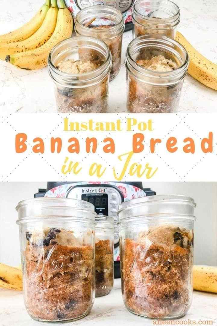 Collage photo of banana bread in four mason jars in front of instant pot.