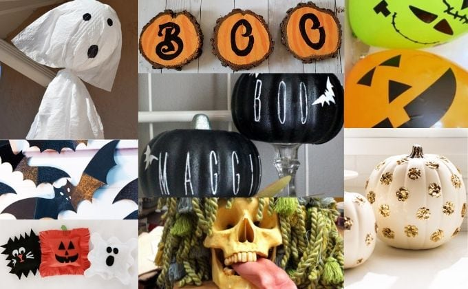 Collage photo showing several ideas for cheap DIY halloween decorations including garbage bag ghosts, Rae Dunn pumpkins, and more!