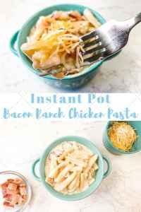 Collage photo of instant pot bacon ranch chicken pasta