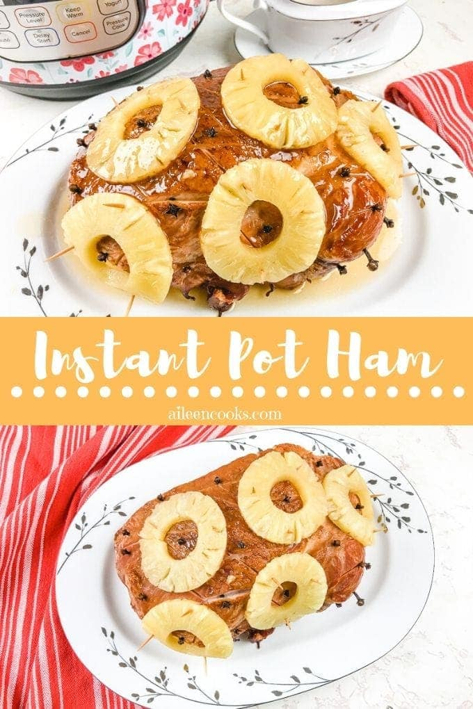 Instant pot ham is the juiciest ham you will ever taste! It comes out perfectly moist and sweet with an easy pineapple brown sugar glaze made right inside your instant pot!