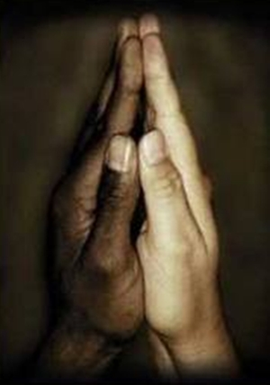 praying hands caucasian, African American