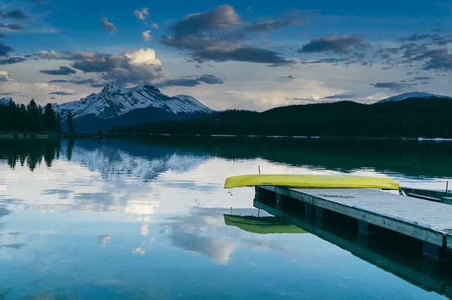 canoe and mountain