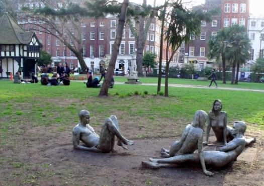 Naked statues in Soho Square, London. Ailish Sinclair | Author