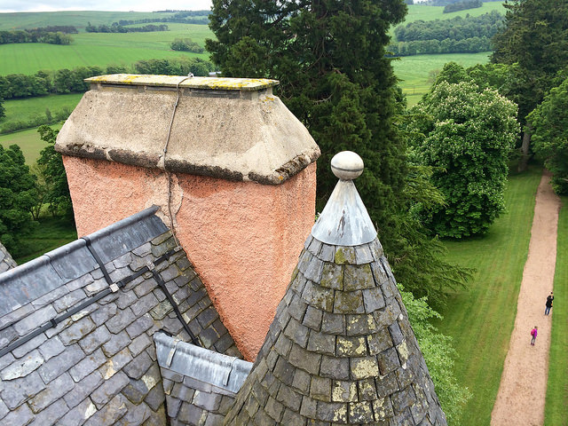 the roof of Scottish castle Craigievar