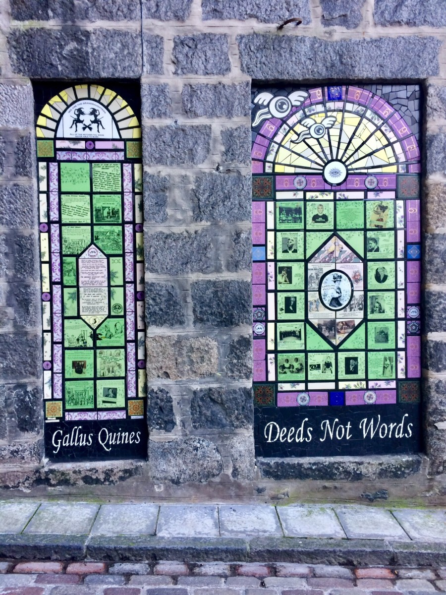 Wonderful street art in Aberdeen honouring those persecuted for witchcraft