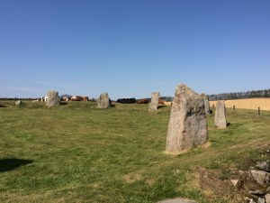 Blue skies over a stone circle