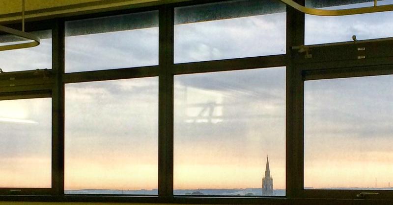 St Nicolas Kirk through a hospital window