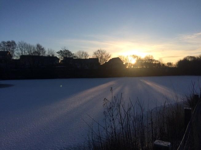 Strichen lake, a snowy Scottish scene