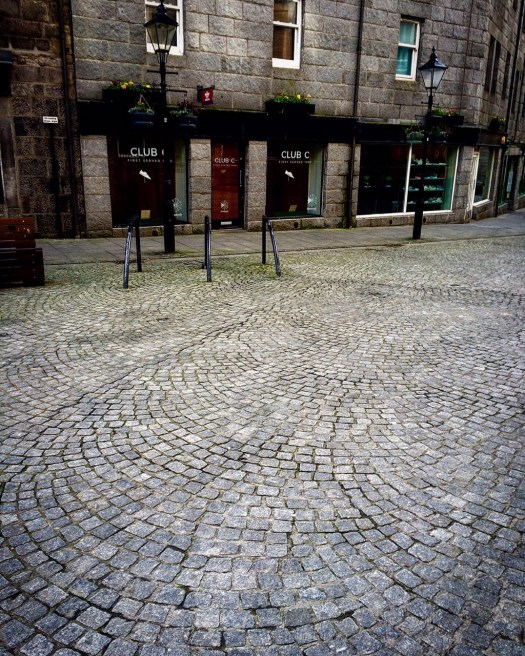 Cobbles of The Green in Aberdeen, Scotland.