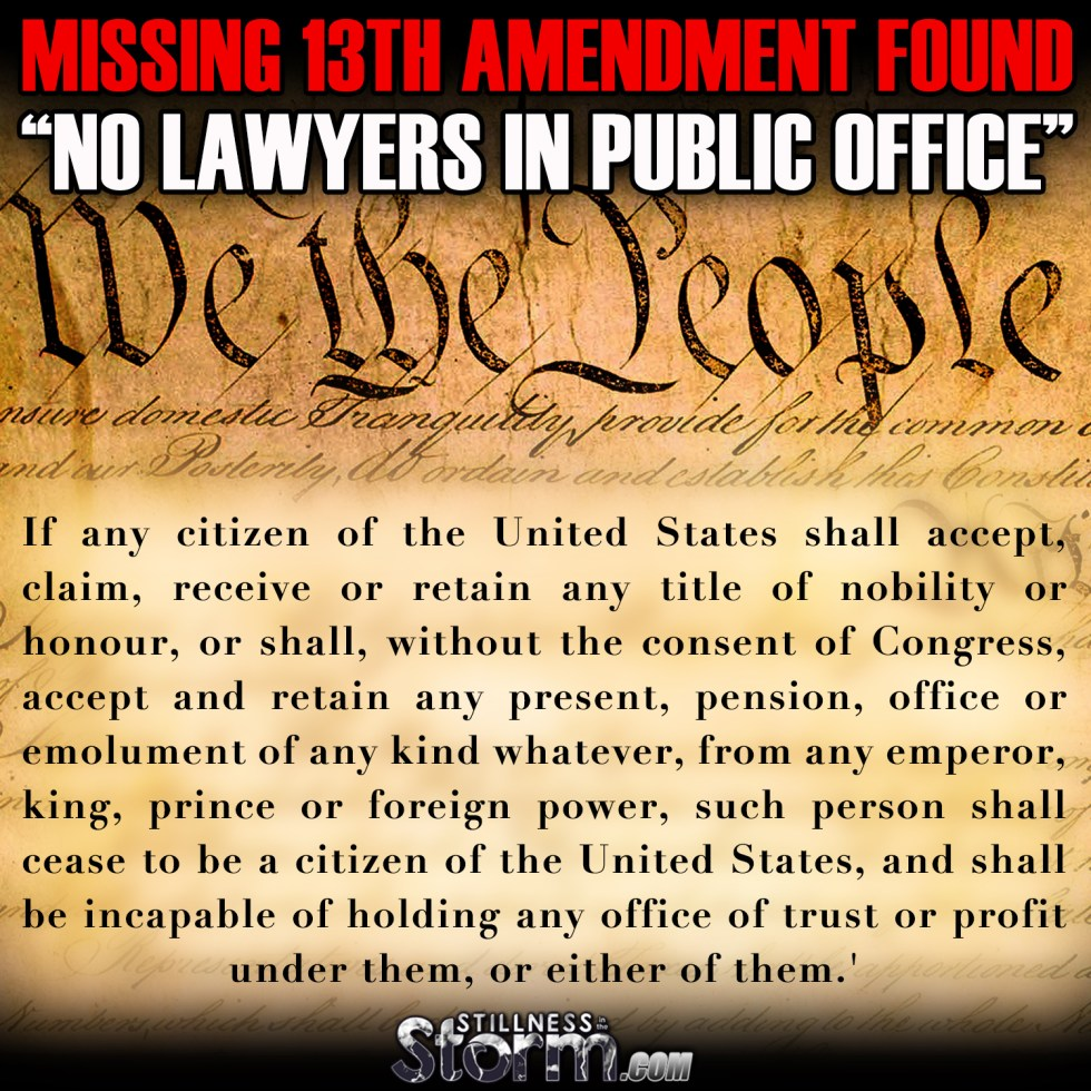 Missing 13th Amendment No Lawyers