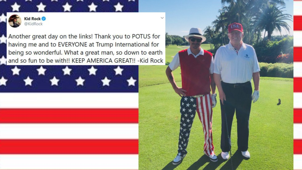 kid rock plays golf Trump
