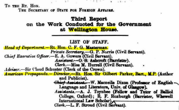 Archivist. (Sep. 01, 1916). Third Report on the [propaganda] work conducted for the Government at Wellington House, Signed in 1916 Sept, 124 pp + map, Cat. Ref. CAB 37/156/6, p. 2. The National Archives. Missing pp. 8,11,13 and 14, in original have been restored by the National Archives.
