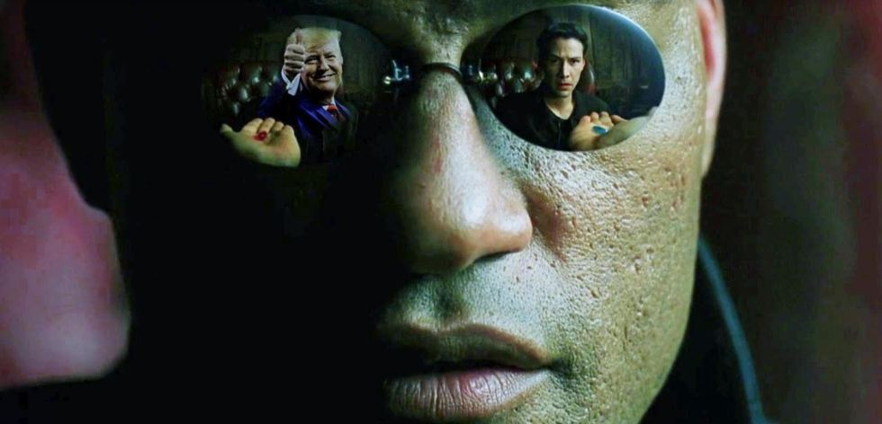 red blue pill trump matrix