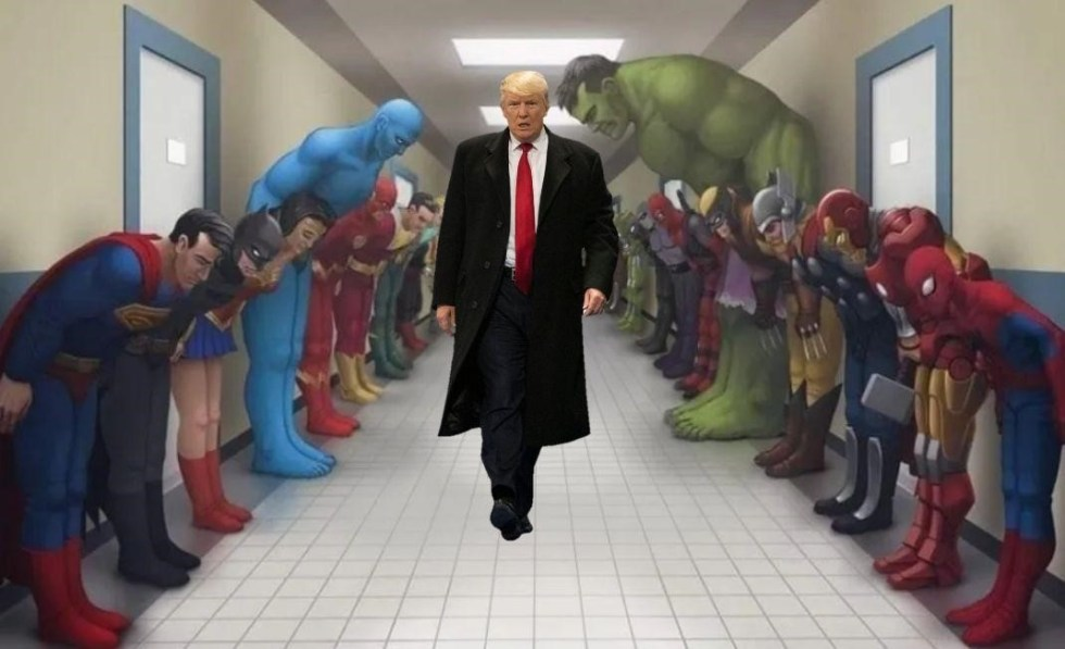 super hero superman batman trump