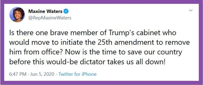 maxine waters 25th amendment