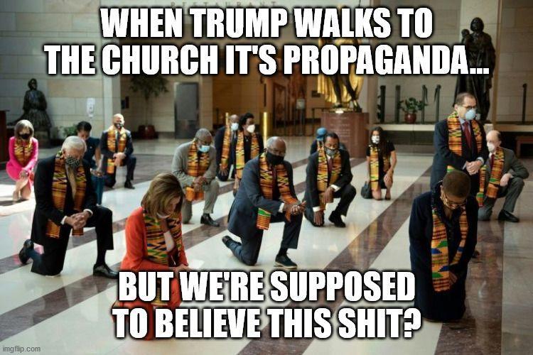 pelosi kneels propaganda