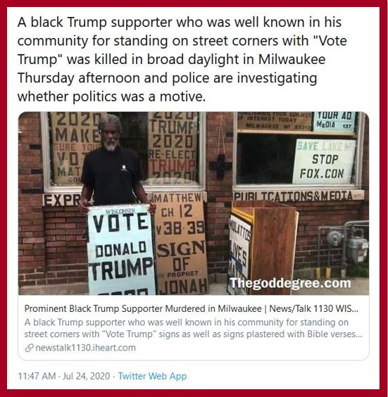 black trump supporter murdered