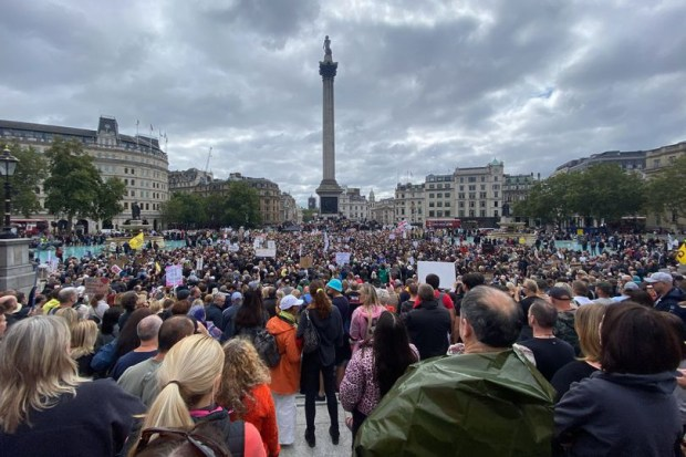 Jillian MacMath. (Aug. 29, 2020). PHOTO#01: Thousands of anti-lockdown protesters gather at Trafalgar Square in London. Wales Online. Reproduced for educational purposes only. Fair Use relied upon.