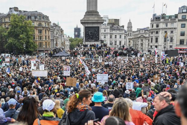 Jillian MacMath. (Aug. 29, 2020). PHOTO#06: Thousands of anti-lockdown protesters gather at Trafalgar Square in London. Wales Online. For educational purposes only. Fair Use relied upon.