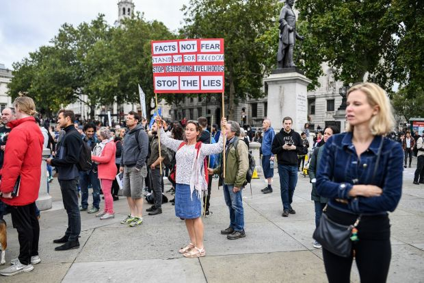 Jillian MacMath. (Aug. 29, 2020). PHOTO#08: Thousands of anti-lockdown protesters gather at Trafalgar Square in London. Wales Online. For educational purposes only. Fair Use relied upon.