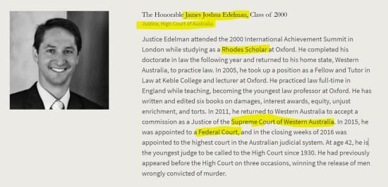 James Joshua Edelman, groomed Rhodes Scholar, Oxford Law Professor. American Academy of Achievement aka British Pilgrims Society, Washington, D.C. subsidiary.